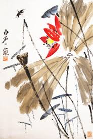 qi baishi painting of dragongly and leaves