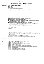 Sample Instructor Resume Swim Instructor Resume Samples Velvet Jobs 6