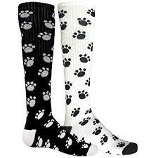 Red Lion Paws Animal Print Mismatched Knee High Socks