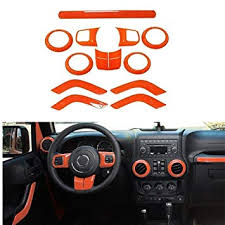 fmtoppeak 7 colors 12pc kits abs auto interior parts decoration car inner dashboard trim cover for jeep wrangler 4 door 2011 2018 orange