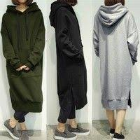 Size Women Oversized Long Sleeve <b>Casual Hooded Sweatshirt</b> ...