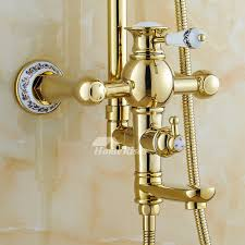 pictures show polished brass golden single handle vintage shower faucets