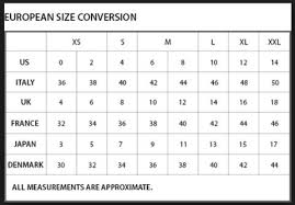 European Size Chart Clothing Womens Clothing International And European Size Guide Chart
