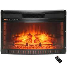 freestanding electric fireplace insert heater with curved tempered glass and remote control
