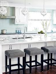 white and blue kitchen with gray accents gray counter stools c16