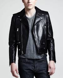 lyst saint lau leather motorcycle jacket in black for men