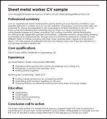 Sheet Metal Worker Cv Sample| Myperfectcv