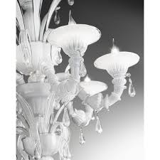 venetian glass chandelier in white milk and crystal glass 6 lights 1007