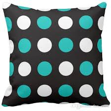 pillow case big polka dots teal black and white square sofa cushions cover 16inch 18inch 20inch pack of x outdoor throw pillows on blue outdoor