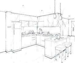 interior design sketches kitchen. House Interior Drawing Drawn Room Kitchen 3 Design Sketches L