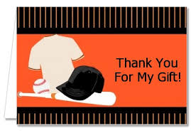 Birthday Party Thank You Cards Baseball Jersey Orange And Black