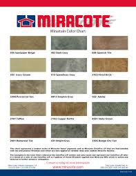 Miracote Color Chart Miracote Mirastain The Stain Store