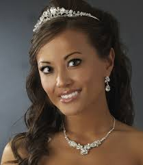 Swarovski Silver Bridal Tiara Item# ABB-HP-8265. A classic display of bridal beauty, this Swarovski and rhinestone detailed tiara will dazzle with its ... - s765851237598149522_p155_i1_w693