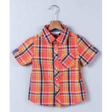 Beebay Size Chart Buy Beebay Orange Half Sleeves Checks Shirt Online Looksgud In