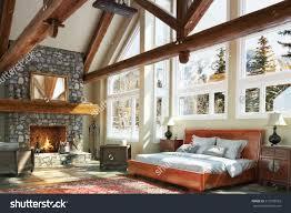 Luxurious Bedroom Design Luxurious Open Floor Cabin Interior Bedroom Stock Illustration