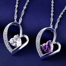 white purple heart shaped 925 sterling silver necklace for women