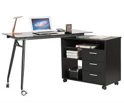l shape black glass portable office desk computer pc laptop desk table workstation w drawers and wheels