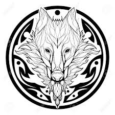 Wolf Face Double Exposure With Tree In Aztec Tribal Circle Shape