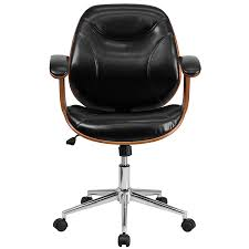 com flash furniture mid back black leather executive wood swivel chair with arms kitchen dining