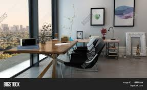eclectic home office. Panoramic Interior Of Open Concept Office In Modern High Rise Apartment - Long Table With Chairs Eclectic Home
