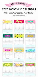 Free Calendar 2020 Printable With Weekly Planner So Pretty