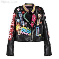 whole hot womens las girls punk rock hip hop graffiti badges embroidery rivet print short motorcycle locomotive leather jackets by
