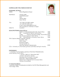 Resume Format Download Pdf For Students South Africa Letter