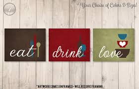 Welcome people into your kitchen or dining space with this metal eat decor. Kitchen Wall Art Print Set Eat Drink Love Brown Burgundy Olive Glass Blue Modern Decor Set Of 3 Unframed Prints Or Canvas Yahoo Shopping