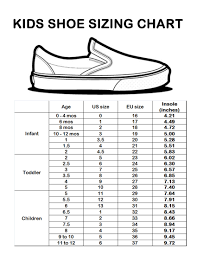 Vans Toddler Size Chart Inches Kids Shoe Size Chart Sizing Chart Shoe Size Chart Kids