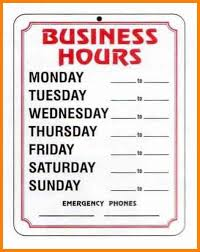 Hours Of Operation Template Free Microsoft Business Hours Template Hours Of Operation Template