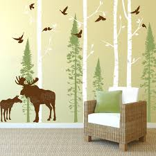 Moose and Birch Tree Wall Decal Living Room Home Decor Birch and Fir Forest Vinyl Wall Stickers Bedroom Birds Decals Mural ZB573 & Moose and Birch Tree Wall Decal Living Room Home Decor Birch and Fir ... www.pureclipart.com