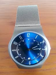 """men s skagen grenen titanium watch 233xlttn watch shop comâ""""¢ great looking watch by skagen excellent value quality product the blue style face is extremely noticeable and smart the titanium strap is very"""