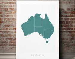 australia map country map of australia art print watercolor illustration wall art home decor gift colour prints on country style wall art australia with australia map etsy