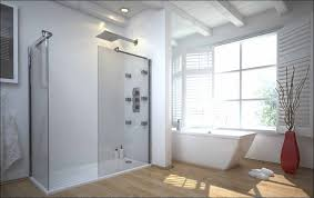 large walk in shower with transparent glass panels and no door wood floors  large white bathtub