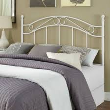 wrought iron headboard full. Unique Iron Wrought Iron Headboard Full Queen Size Vintage White Metal Scroll Post  Finials 733281598606  EBay Intended T
