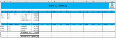 Monthly Schedule Excel Template Monthly Payment Schedule In Excel Templates At