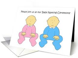 Twins Baby Naming Ceremony Invitation Card