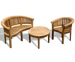 aria teak coffee table bench and chair set