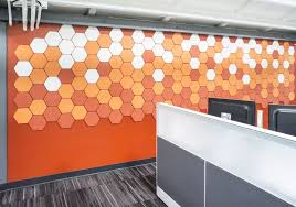 office wall tiles. Geometry Tile Office Wall | Project: DPR, San Diego, CA Style: Hex Colors: 500/151/295 Tiles