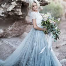 Light Blue Wedding Dress With Sleeves Us 71 43 35 Off Sky Blue Lace Bride Dress Short Sleeves A Line Romantic Wedding Dress Vestidos De Novia 2019 Cheap High Quality Wedding Gown In