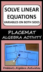 solve linear equations with variables on both sides from proportions placemats