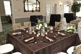 brown table cloth leaf petal taffeta round
