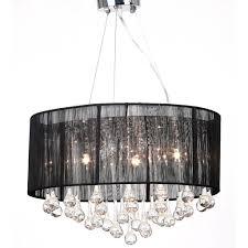 drum shade pendant crystal ceiling light chandelier lighting