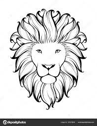 линейная стилизованные лев черно белый рисунок векторная