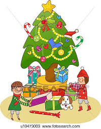 christmas tree with presents drawing. Unique Presents Boy And A Girl Standing Near Christmas Tree Holding Presents In Tree With Presents Drawing K