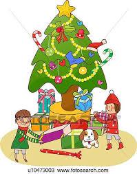 christmas tree with presents drawing. Modren Christmas Boy And A Girl Standing Near Christmas Tree Holding Presents And Tree With Presents Drawing