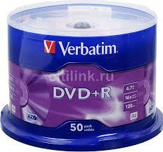 Оптический <b>диск DVD</b>+<b>R VERBATIM</b> 4.7Гб <b>16x</b>, 50шт., cake box
