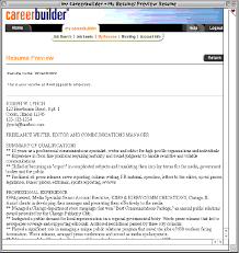 Here's what Joseph Lynch's Plain Text resume looked like when posted on the  CareerBuilder site.