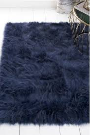 navy luxury faux sheepskin rug