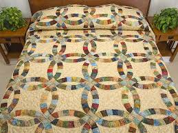 Double Wedding Ring Quilt -- great skillfully made Amish Quilts ... & King Hand Painted Double Wedding Ring Quilt Photo 1 ... Adamdwight.com